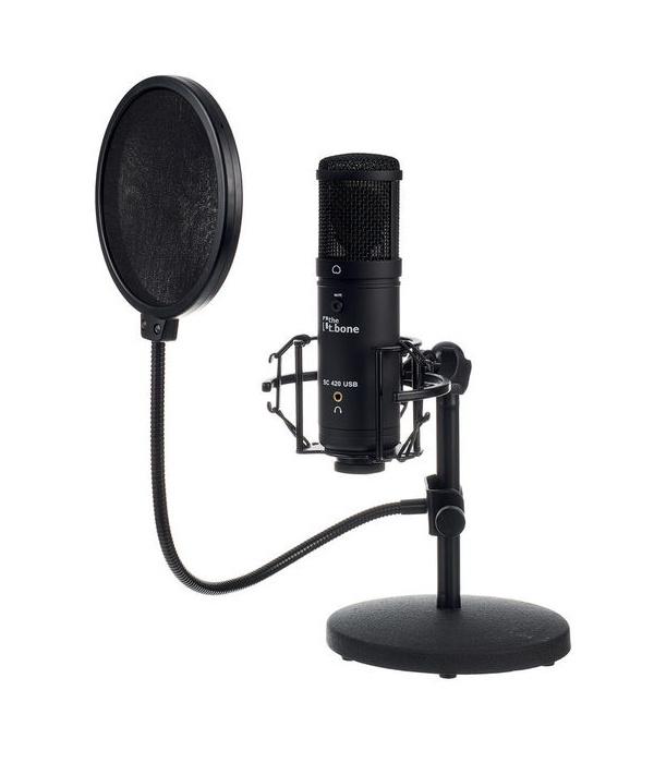 the t.bone SC 420 USB Desktop-Set: Mikrofon mit Popkiller (für Jamulus nicht benötigt)
