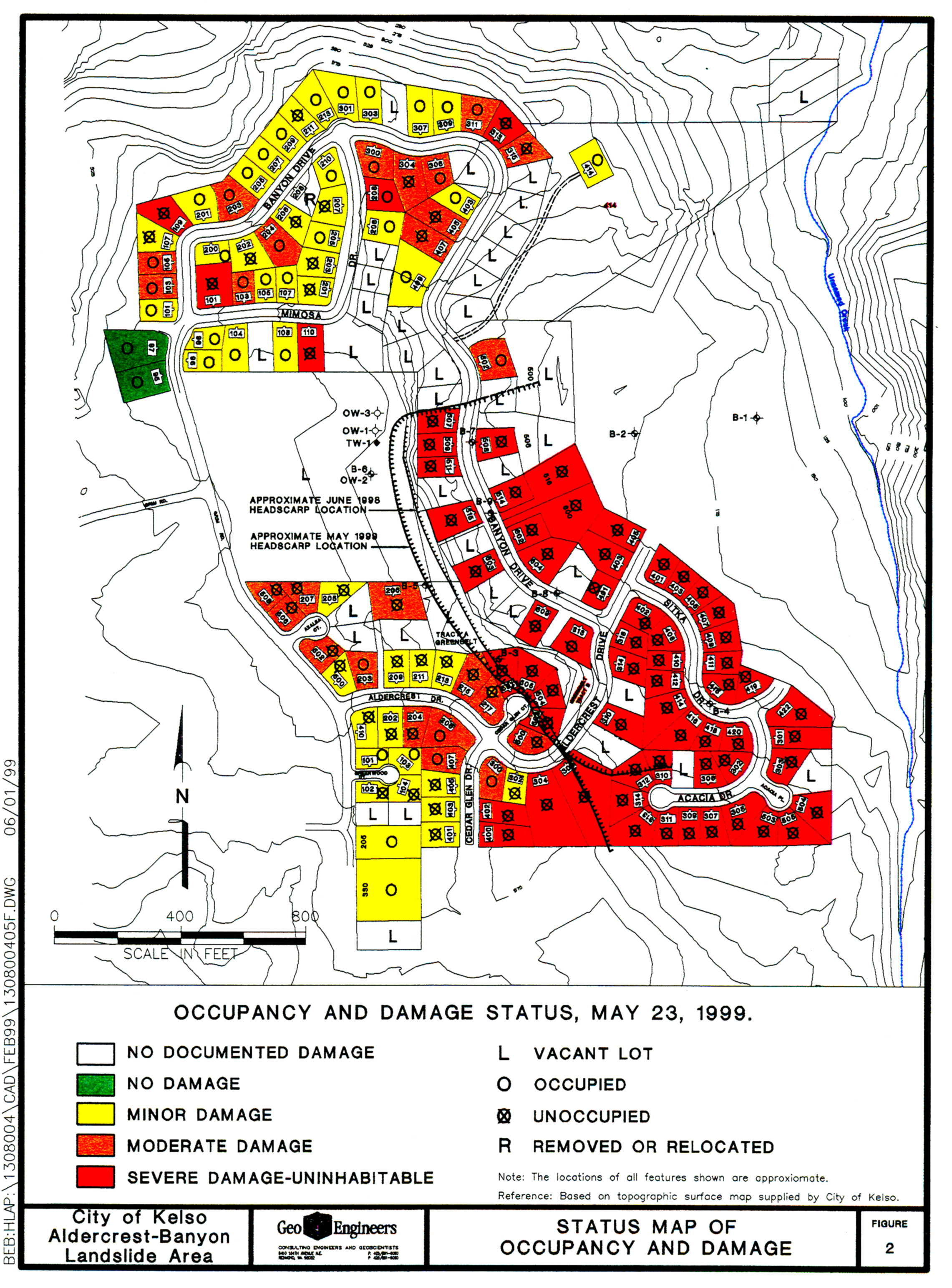 Map of houses affected by the Aldercrest Banyon Landslide