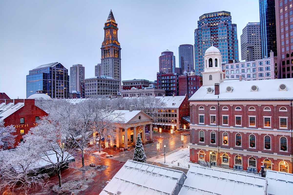 Snow Covered Faneuil Hall