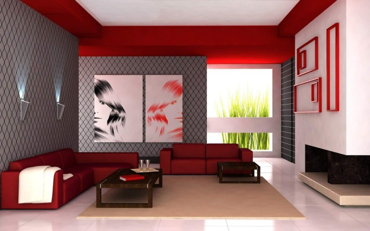 Decorating inspiration - red and grey