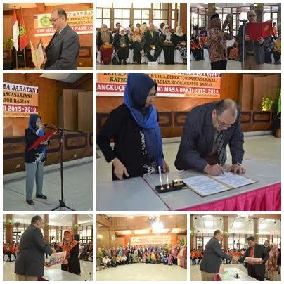 PERIODE BARU.Bunyamin PhD menandatangani SK pengangkatan sebagai ketua ABM Periode 2015/2019 di saksikan ketua yayasan (P3M) Dra. Daniar