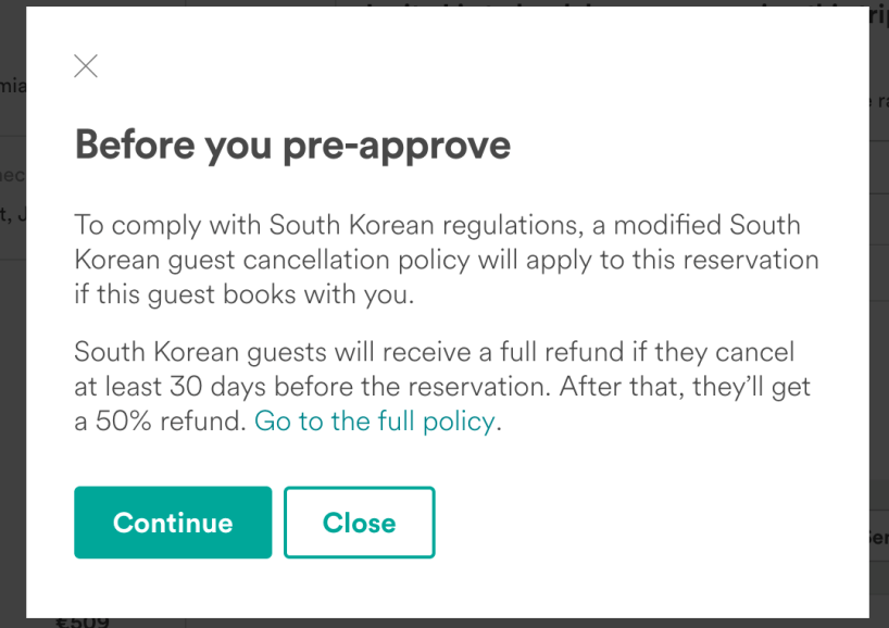 aribnb south korea cancellation policy