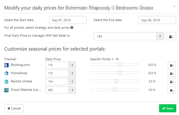 channel manager seasonal prices