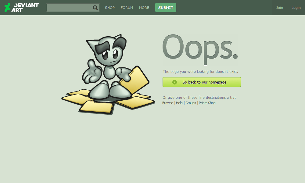 Best 404 pages: DeviantArt