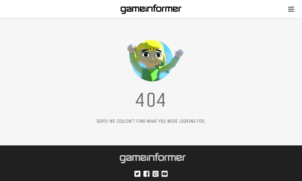 Best 404 pages: Game Informer