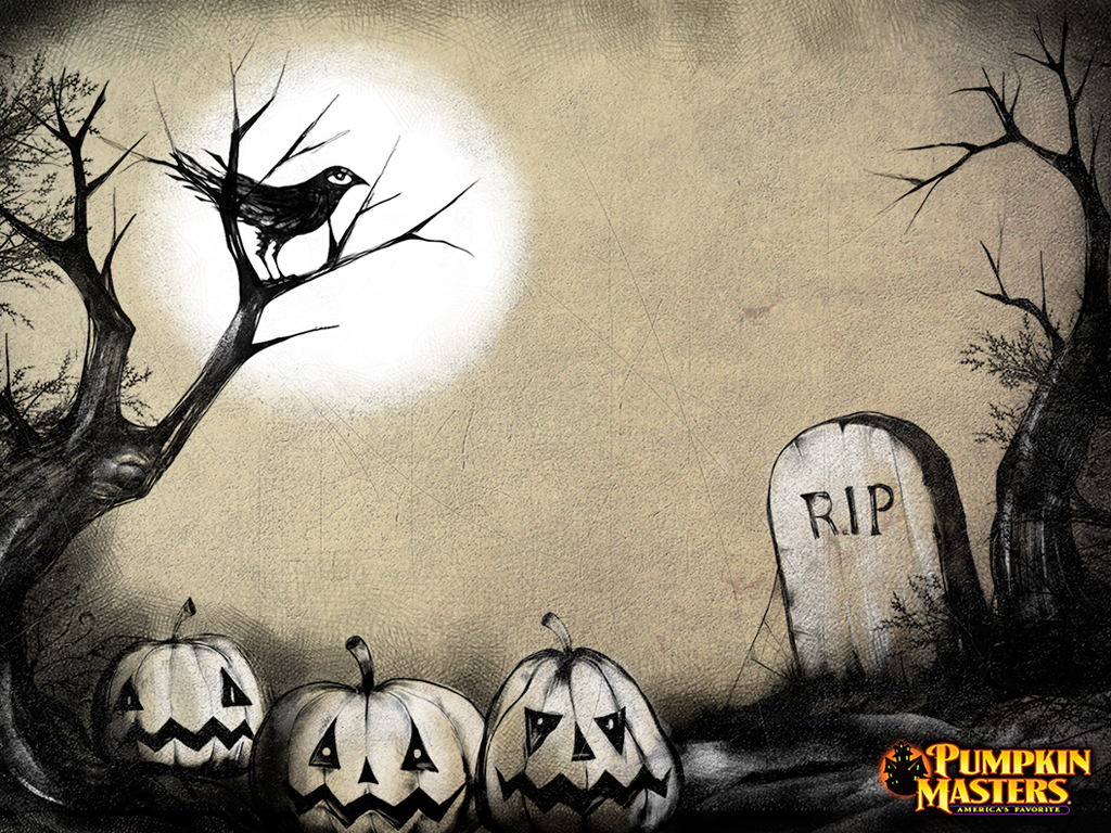 free-halloween-wallpaper-graveyard-crow-pumpkins-2013