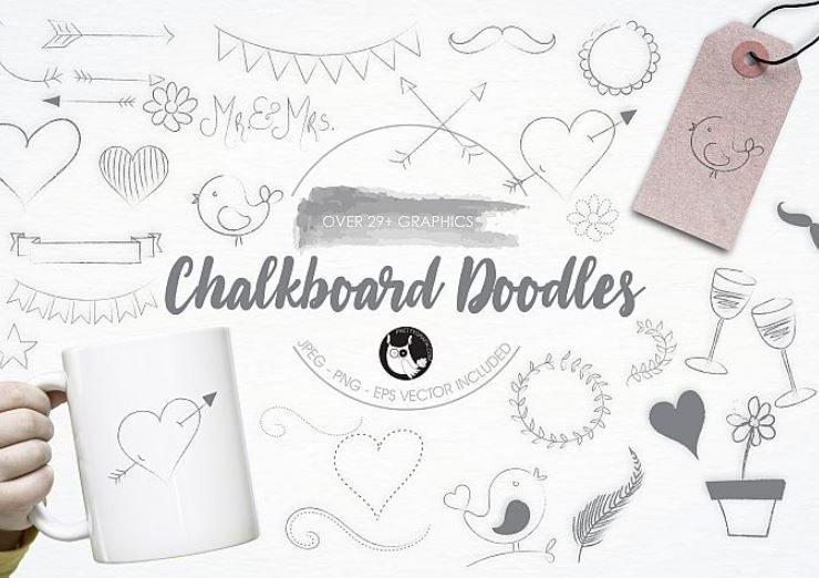 Chalkboard Doodles graphics and illustrations Web3Canvas