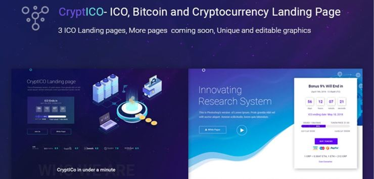 CryptICO - Bitcoin, ICO and Cryptocurrency Landing Page PSD Template Web3Canvas