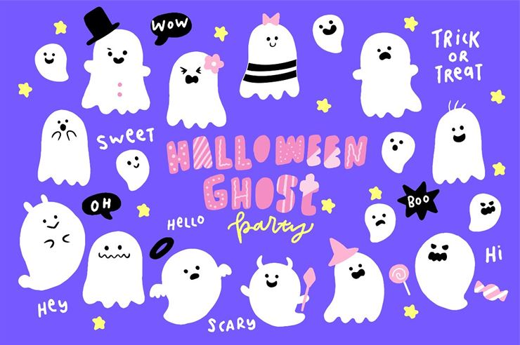 Cute Halloween Ghosts Illustrations Web3Canvas