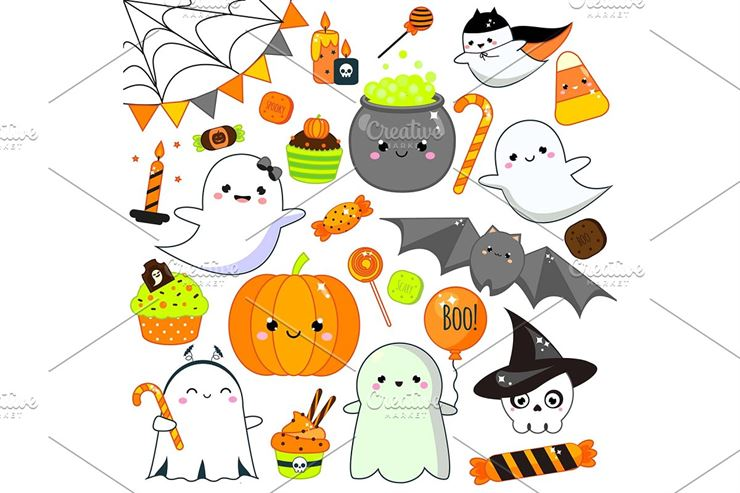 Cute Kawaii Halloween Vector Icons Web3Canvas