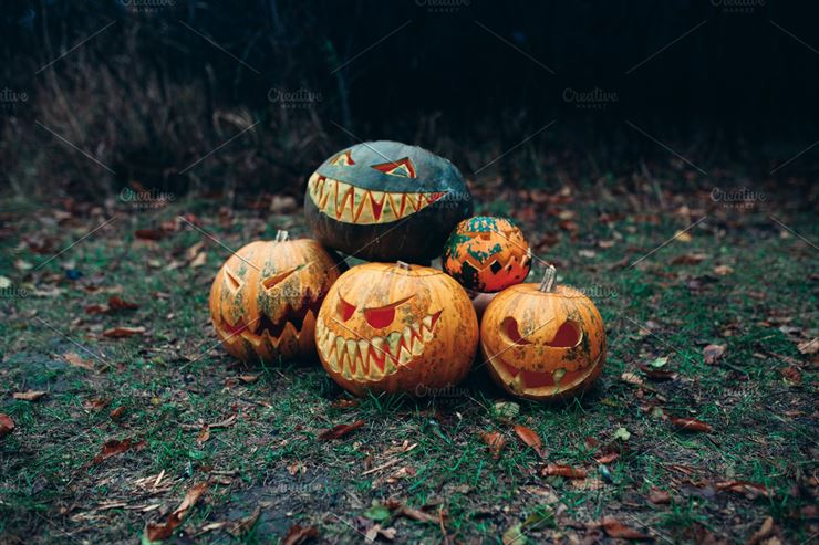 Group of Halloween Pumpkins with A Carved Face Lying On the Ground Web3Canvas