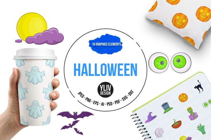 Halloween Cartoon Style Icons Set Web3Canvas