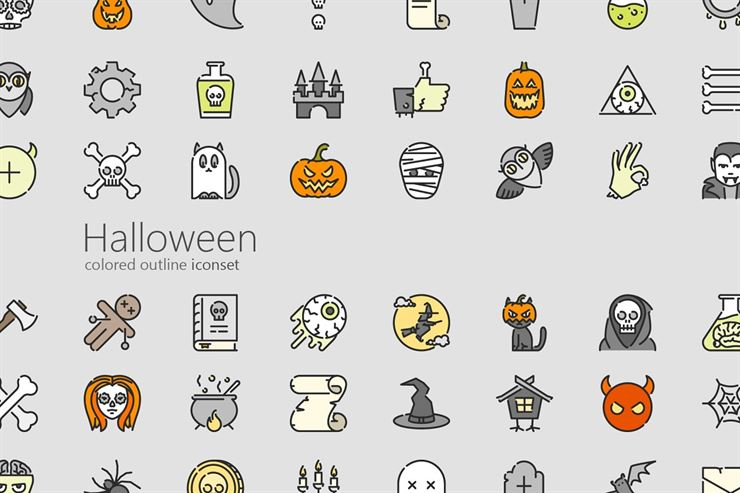 Halloween Colored Outline Icon Set Web3Canvas