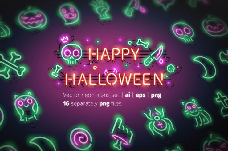 Halloween Neon Icons Web3Canvas