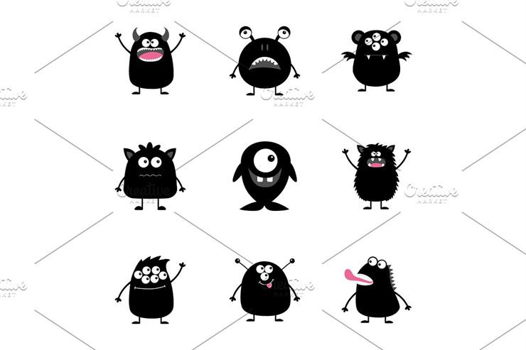 Happy Halloween Cute Monster Set Web3Canvas