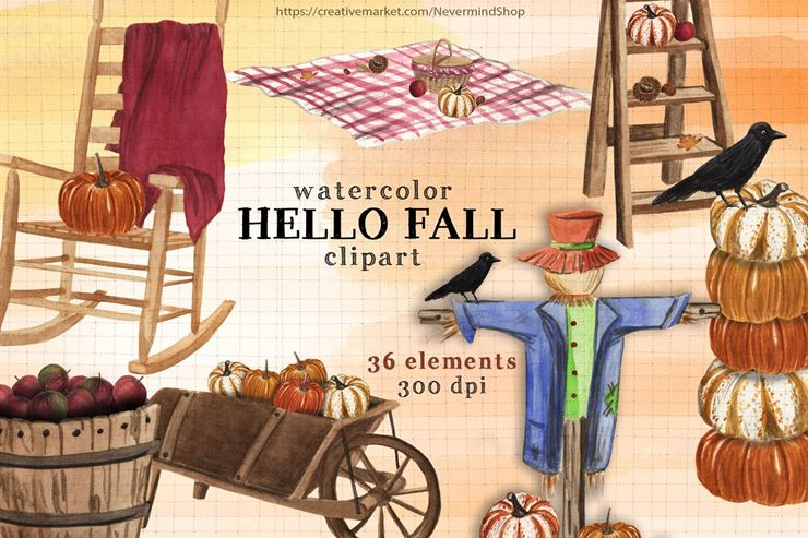 Hello Fall Watercolor Clipart Kit Web3Canvas