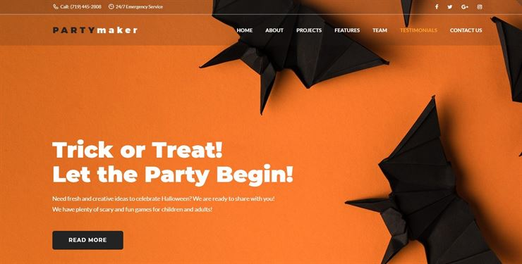 PartyMaker - Halloween Party WordPress Theme Web3Canvas