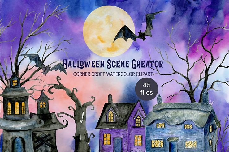 Watercolor Halloween Scene Creator Web3Canvas
