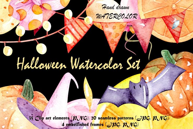 Watercolor Halloween Set Web3Canvas