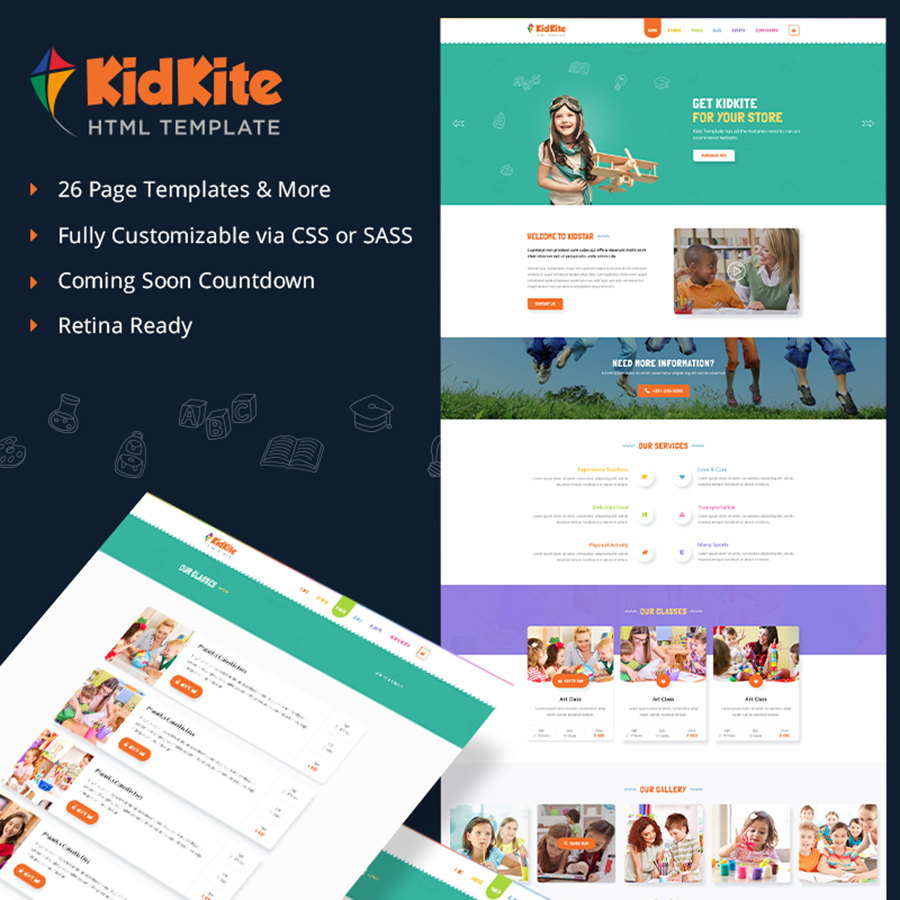 School Daycare for Kids & Children Ecommerce Website Template