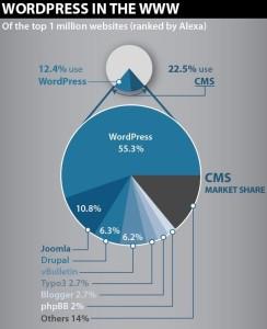 Über 50 Prozent der Seiten mit CMS setzen auf WordPress