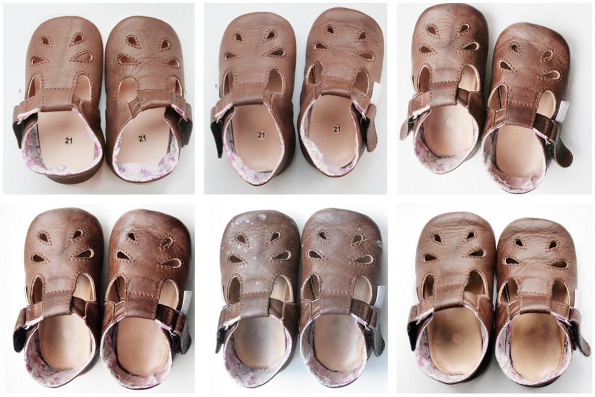 Zeigt her Eure Füße: Die Puschen vor Gebrauch (oben links) nach drei, sechs, neun, zwölf und fünfzehn Wochen (unten rechts) intensiven Tragens. Foto: Julia Marre
