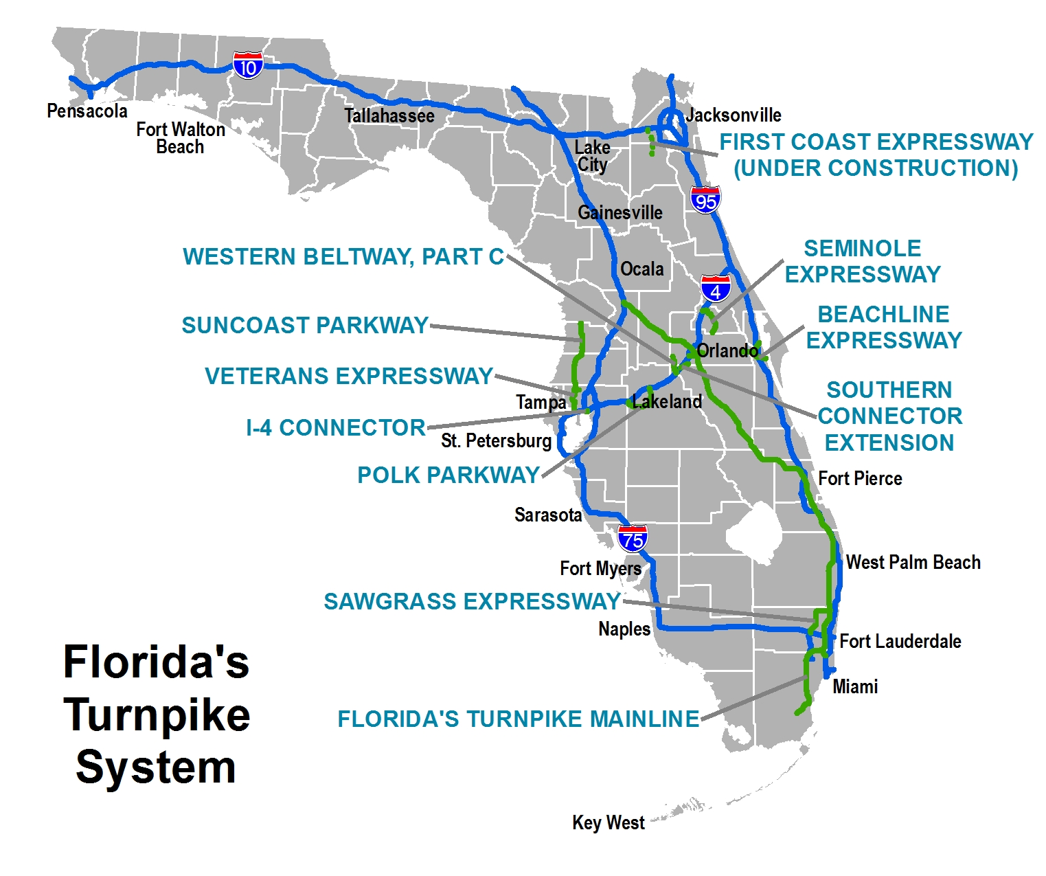 Toll Roads Map Florida.South Florida Toll Roads Map