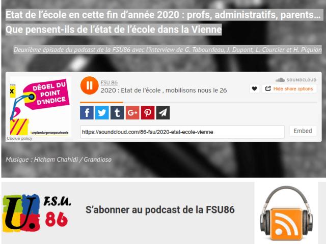 Un podcast de la FSU86 sur l'état de l'école dans la Vienne avant la grève du 26 janvier dans l'Éducation