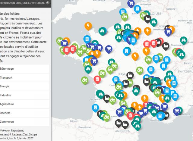 La carte des luttes dans la Vienne et ailleurs
