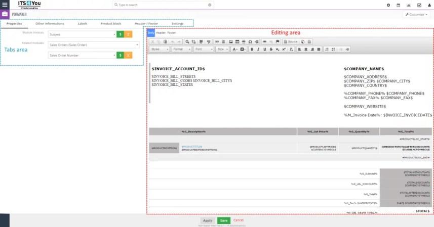 módulo de personalização de PDF para o VTiger