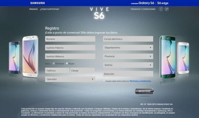 concurso gana samsung galaxy s6 formulario