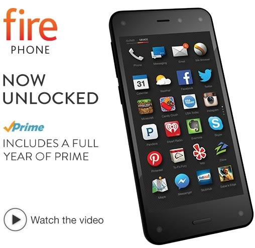 las 10 mejores ofertas tecnologicas cyber monday 2014 en amazon - fire phone unlocked