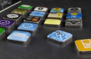 Imanes para el refrigerador con los iconos del iPhone
