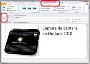 Enviar una captura de pantalla en Outlook 2010