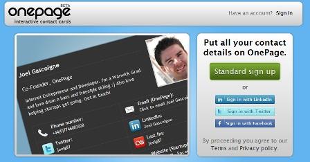 crear tarjetas de presentación online con onepage