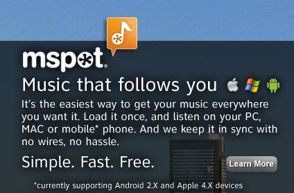 mspot mSpot, servicio de sincronización de música aumenta su capacidad a 5gb