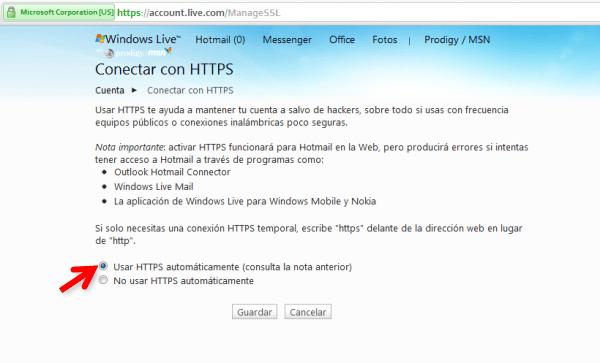 4 Aumentar tu seguridad: Conectarse a Hotmail por medio de https