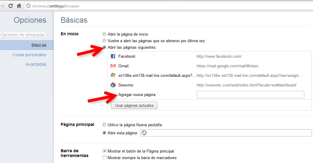 chrome options 2 Abrir varias pestañas al iniciar tu navegador (Chrome y Firefox)