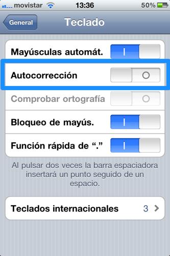 Desactiva la corrección automática del teclado en iOS - iphone-ajustes-teclado-autocorreccion