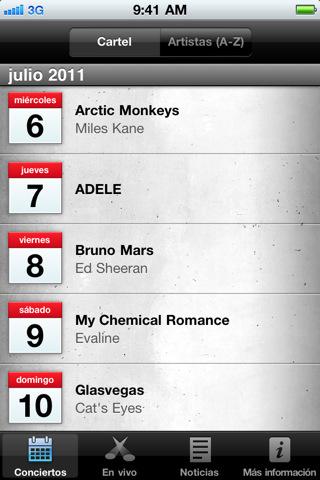 iTunes Festival London 2011, síguelo en vivo desde la App oficial - Captura-de-pantalla-del-iPhone-3