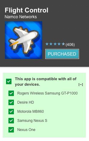 device compatibility La Android Market web store ahora indica que dispositivos son compatibles con las Apps
