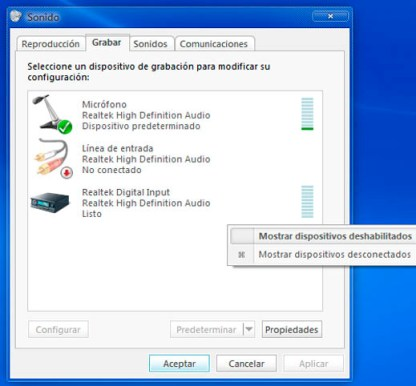 mostrar dispositivos1 Activar la mezcla estéreo en Windows