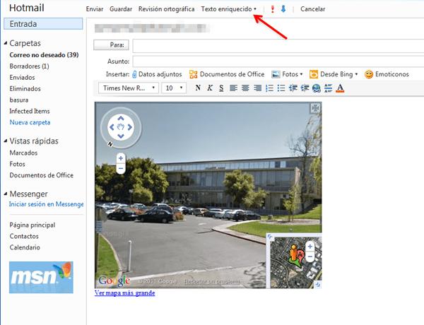 Cómo insertar HTML en un correo de Hotmail - Snap_2011.07a