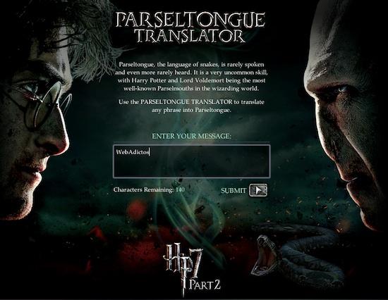 Traductor de parsel Traductor de Parsel para todos fanáticos de Harry Potter