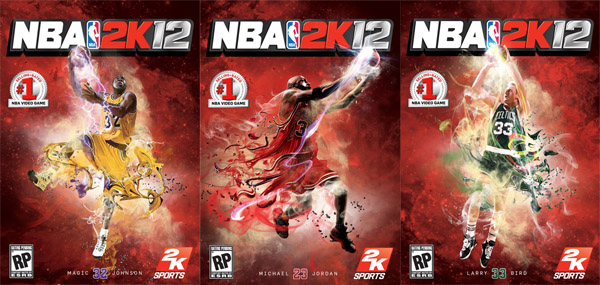 nba 2k12 covers Jordan, Bird y Magic en la portada de NBA 2K12