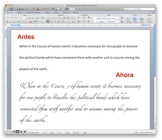 office mac 2011 caligrafia 2 Office Mac 2011 ahora incluye soporte avanzado de caligrafía