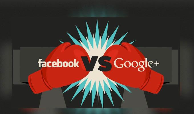 Facebook frente a Google+ en una Infografía - vs