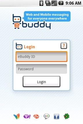 eBuddy, la aplicación definitiva para chat en Android - login_scr