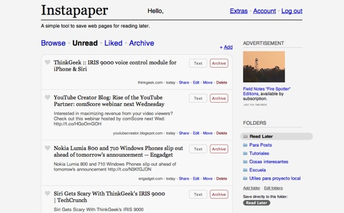 Instapaper, guarda páginas para leer después - web [Reseña] - Instapaper