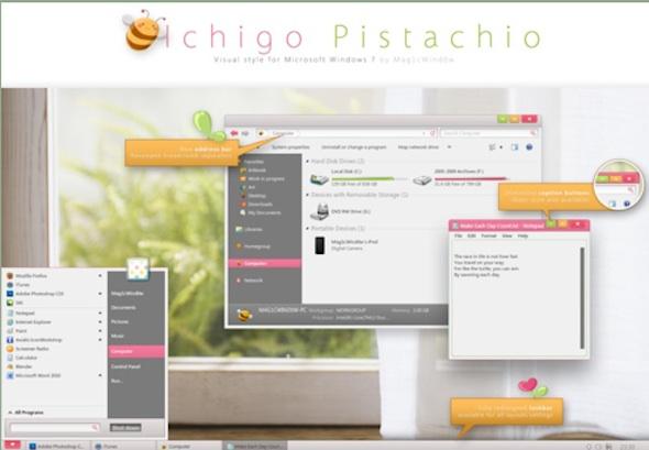 Tres nuevos y sorprendentes temas para Windows 7 - ichigo-pistacho-tema-